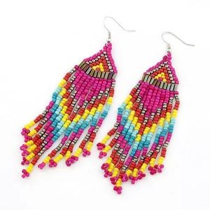 Handmade Pink Native Earrings